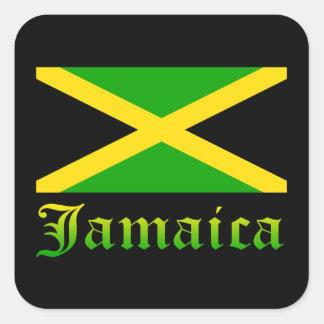 Bandera, negro, verde y amarillo de Jamaica Calcomanía Cuadradas Personalizadas