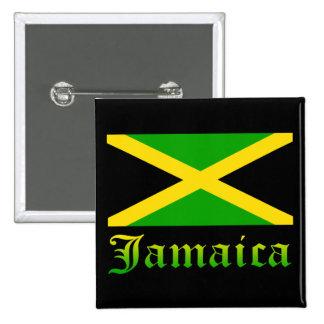 Bandera, negro, verde y amarillo de Jamaica Pin Cuadrado