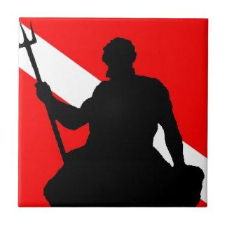 Bandera Neptuno de la zambullida Azulejo Cuadrado Pequeño