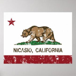 Bandera Nicasio de la república de California Posters