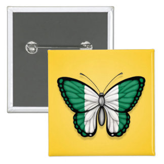 Bandera nigeriana de la mariposa en amarillo pins