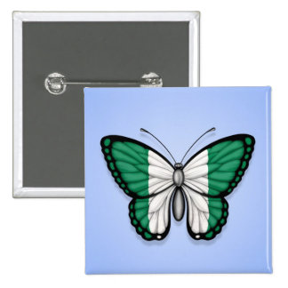 Bandera nigeriana de la mariposa en azul pins