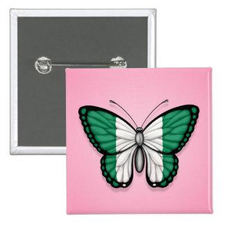 Bandera nigeriana de la mariposa en rosa pin
