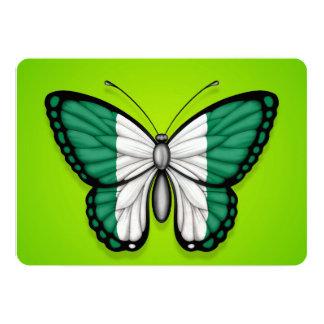 """Bandera nigeriana de la mariposa en verde invitación 5"""" x 7"""""""