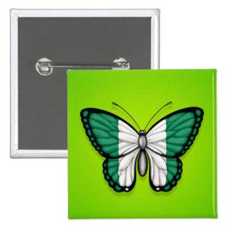 Bandera nigeriana de la mariposa en verde pin
