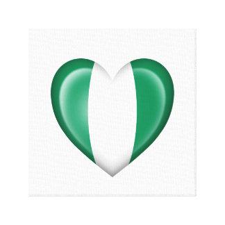 Bandera nigeriana del corazón en blanco impresiones en lona