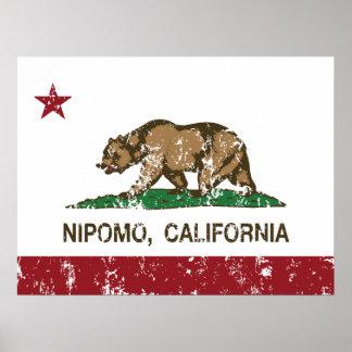 Bandera Nipomo de la república de California Posters