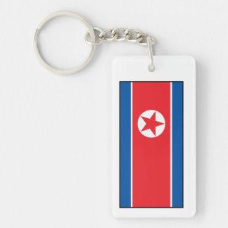 Bandera norcoreana llavero rectangular acrílico a doble cara