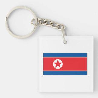 Bandera norcoreana llavero cuadrado acrílico a doble cara