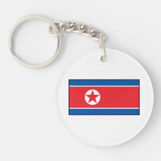 Bandera norcoreana llavero redondo acrílico a doble cara