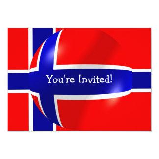 Bandera noruega con la invitación de la burbuja