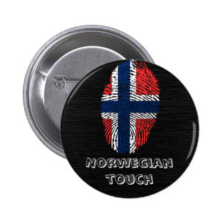 Bandera noruega de la huella dactilar del tacto pin redondo de 2 pulgadas