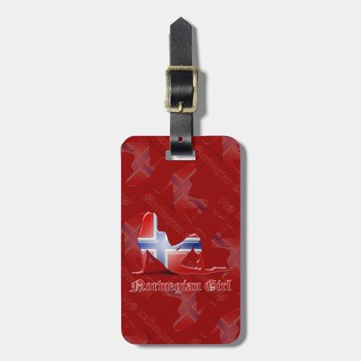 Bandera noruega de la silueta del chica etiquetas de equipaje