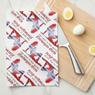 Bandera noruega de la silueta del chica toallas de mano
