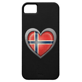 Bandera noruega del corazón con efecto del metal iPhone 5 fundas