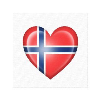 Bandera noruega del corazón en blanco impresiones en lona estiradas