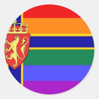 Bandera noruega del orgullo de GLBT Pegatina Redonda