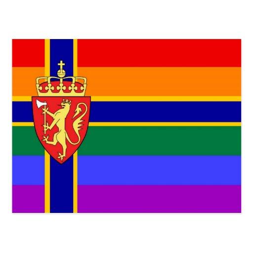 Bandera noruega del orgullo de GLBT Postal