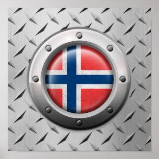 Bandera noruega industrial con el gráfico de acero póster
