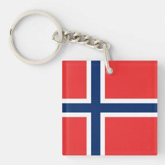 Bandera noruega llavero cuadrado acrílico a doble cara