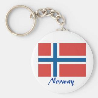 Bandera noruega llavero redondo tipo pin