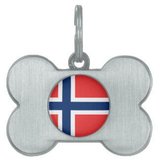 Bandera noruega placa de nombre de mascota