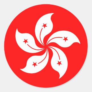 """Bandera """"obra clásica """" de Hong Kong Pegatina Redonda"""