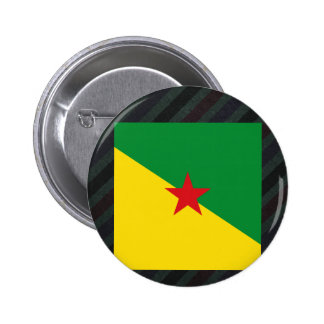 Bandera oficial de la Guayana Francesa en rayas Pin Redondo 5 Cm