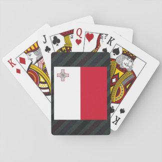Bandera oficial de Malta en rayas Cartas De Póquer