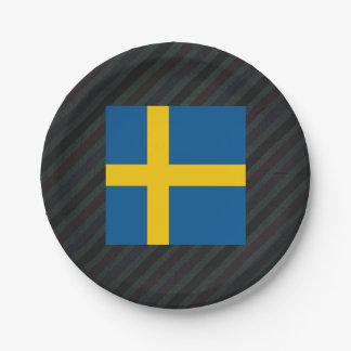 Bandera oficial de Suecia en rayas Plato De Papel De 7 Pulgadas