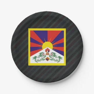 Bandera oficial de Tíbet en rayas Plato De Papel De 7 Pulgadas