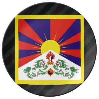Bandera oficial de Tíbet en rayas Plato De Cerámica