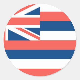 Bandera oficial del estado de Hawaii Pegatina Redonda