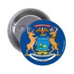 Bandera oficial del estado de Michigan Pin Redondo De 2 Pulgadas
