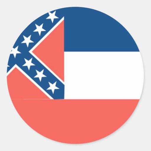 Bandera oficial del estado de Mississippi Pegatina Redonda