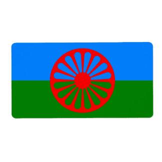Bandera oficial del gitano del Romany Etiquetas De Envío