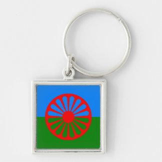 Bandera oficial del gitano del Romany Llavero Cuadrado Plateado