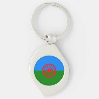Bandera oficial del gitano del Romany Llavero Plateado En Forma De Espiral