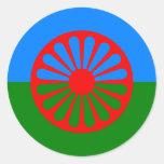 Bandera oficial del gitano del Romany Pegatina Redonda