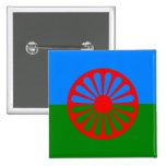 Bandera oficial del gitano del Romany Pin Cuadrada 5 Cm