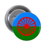 Bandera oficial del gitano del Romany Pin Redondo 5 Cm