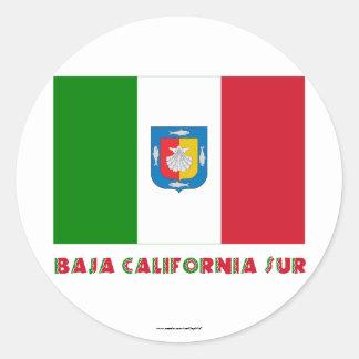 Bandera oficiosa de Baja California Sur Pegatina Redonda