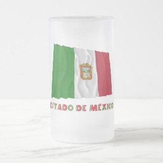 Bandera oficiosa de Estado de México Waving Taza Cristal Mate