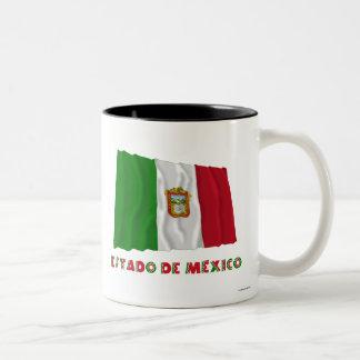 Bandera oficiosa de Estado de México Waving Taza Dos Tonos