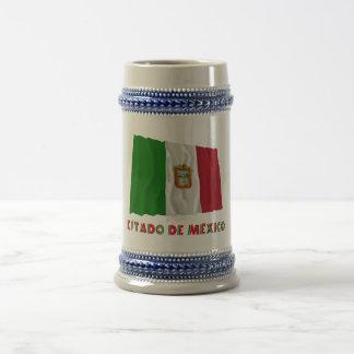 Bandera oficiosa de Estado de México Waving Jarra De Cerveza