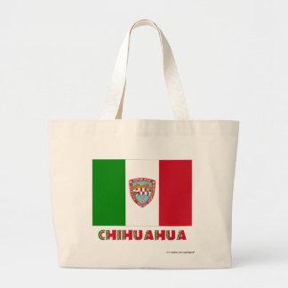 Bandera oficiosa de la chihuahua bolsa tela grande