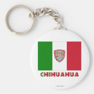 Bandera oficiosa de la chihuahua llavero redondo tipo pin