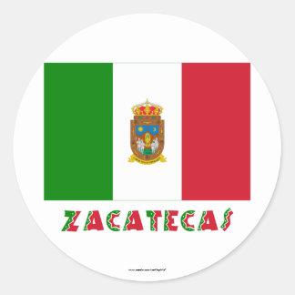 Bandera oficiosa de Zacatecas Pegatina Redonda