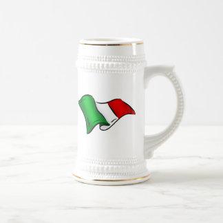 Bandera ondulada de Italia Tazas De Café