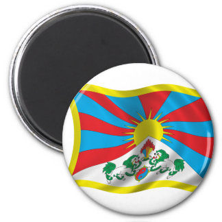 Bandera ondulada de Tíbet Imán Redondo 5 Cm